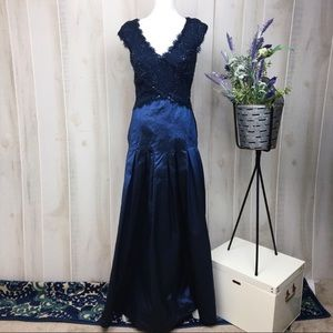 Tadashi Collection Blue Sequin Full Length Gown